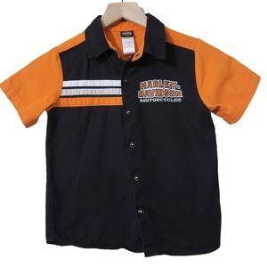 Harley-Davidson Orange Snap Button Down Shirt Cotton Motorcycle Children Kid 6
